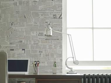Papel de parede estilo moderno com efeito de tijolos com escrita NEWSBRICK