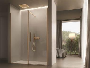 Rectangular glass shower cabin with hinged door LUCE   Niche shower cabin