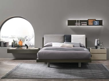 Eco-leather double bed with upholstered headboard NIKKI