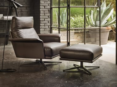 Leather armchair with 4-spoke base with armrests NILSON | Leather armchair