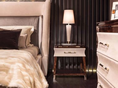 Leather bedside table for hotel rooms NOIR | Bedside table