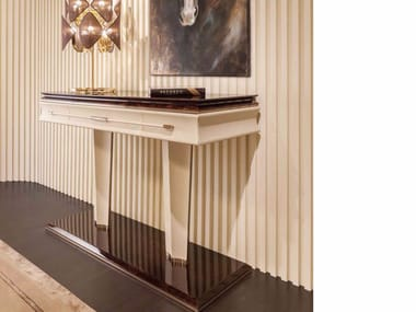 Rectangular leather console table NOIR | Console table