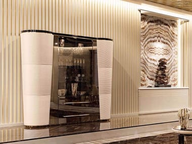 Leather display cabinet with integrated lighting NOIR | Display cabinet