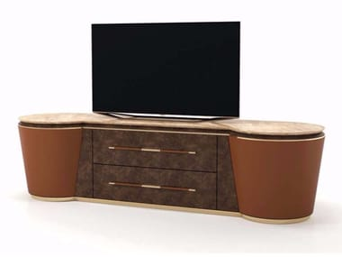 Leather TV cabinet with drawers NOIR | TV cabinet