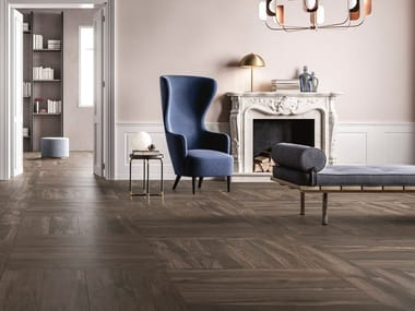 Porcelain stoneware wall/floor tiles with wood effect NOISETTE