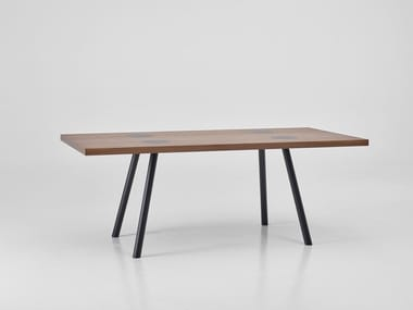 Rectangular wood veneer dining table NOMAD