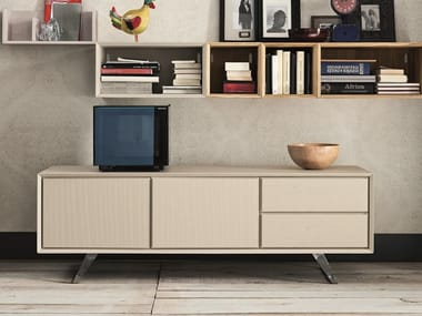 Low oak TV cabinet with drawers NOOK | TV cabinet