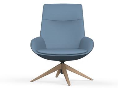 Trestle-based fabric armchair with armrests NOOM | Trestle-based armchair