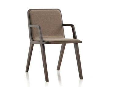 Upholstered fabric chair with armrests NORDIC | Chair with armrests
