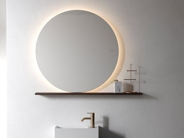 Round wooden mirror with integrated lighting with shelf NORM | Round mirror