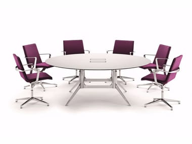 Round meeting table with cable management NOTABLE MEETING | Round meeting table