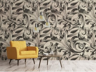 Fire retardant wallpaper with floral pattern NOUVEAU