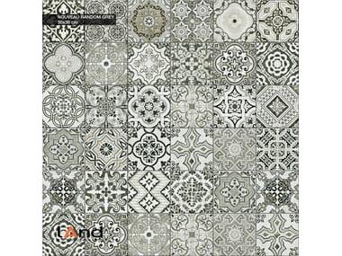 Technical porcelain flooring with encaustic effect NOUVEAU RANDOM GREY
