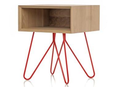 Rectangular oak and steel bedside table NOVE