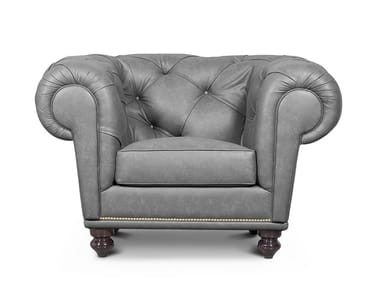 Tufted leather armchair with armrests NU CHESTERFIELD