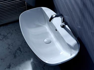 Wall-mounted ceramic washbasin with overflow NUDA | Ceramic washbasin