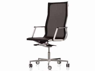 Height-adjustable mesh executive chair with 5-spoke base with castors NULITE | Mesh executive chair
