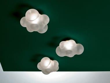 Lampada da soffitto alogena fatta a mano in vetro borosilicato NUVOLA | Lampada da soffitto