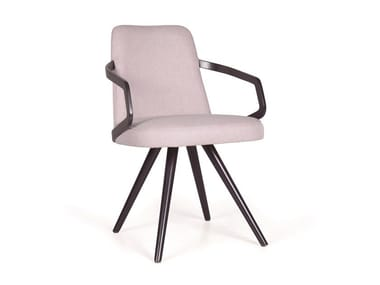 Upholstered solid wood chair with armrests NUZZLE CB