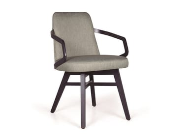 Upholstered solid wood chair with armrests NUZZLE CB P2
