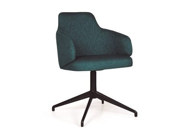 Upholstered trestle-based chair with armrests NUZZLE METAL EST CB