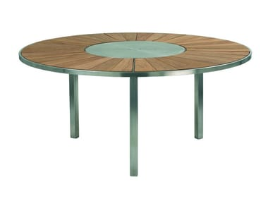 Tavolo da giardino rotondo in teak con Lazy Susan O-ZON   Tavolo in teak