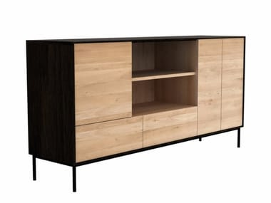 Oak sideboard with doors with drawers OAK BLACKBIRD | Oak sideboard