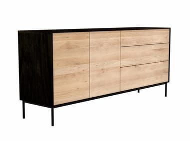 Oak sideboard with doors with drawers OAK BLACKBIRD | Sideboard
