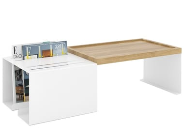 Rectangular aluminium and wood coffee table with integrated magazine rack FOLDER | Aluminium and wood coffee table