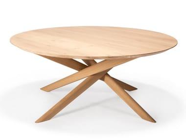 Round oak coffee table OAK MIKADO | Round coffee table