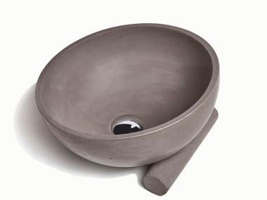Countertop round concrete washbasin OBLIQUO