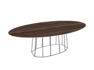 Oval wood veneer table with metal base OCTO | Oval table