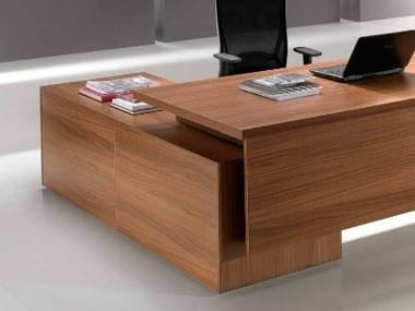 L-shaped wooden office desk with drawers ODEON | L-shaped office desk