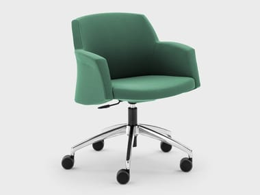 Trestle-based fabric office chair with armrests with castors MISS GRACE | Office chair