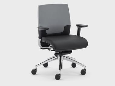 Height-adjustable leather office chair with armrests MADAM OFFICE | Office chair