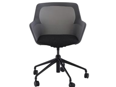 Swivel fabric office chair with 5-Spoke base with castors PICCIONE | Office chair with armrests