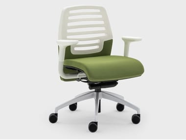 Office chair with fabric and plastic wheels MADAM OFFICE | Office chair with armrests