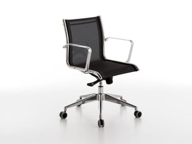 Swivel mesh office chair with castors NET | Office chair with castors