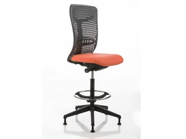 Swivel office stool with back with footrest SMARTBACK | Office stool
