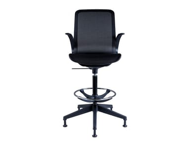 Height-adjustable Nylon® office stool with 5-Spoke base with Armrests SMARTLIGHT | Office stool with Armrests