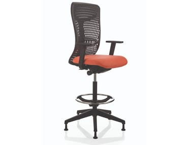Banqueta para escritório giratório com braços com apoio de pés SMARTBACK | Banqueta para escritório com braços