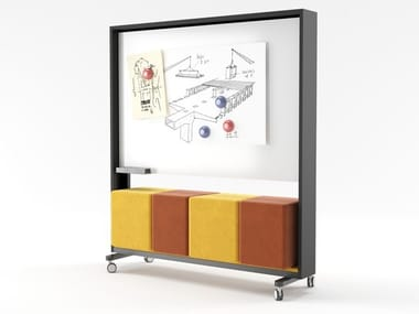 MDF office whiteboard with castors WALKER | Office whiteboard
