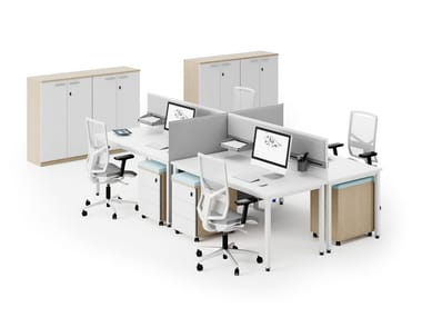 Multiple office workstation with desk screens P-SQUARE | Office workstation