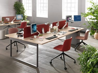 Multiple office workstation PIGRECO LOOP | Office workstation