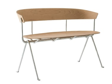 Multi-layer wood small sofa OFFICINA | Multi-layer wood small sofa