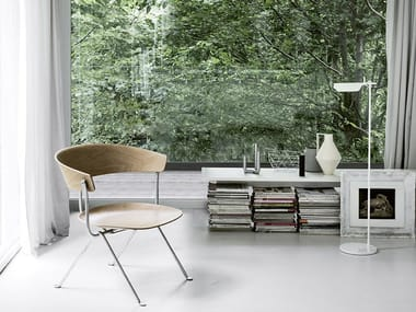 Multi-layer wood easy chair OFFICINA | Multi-layer wood easy chair