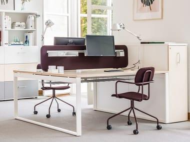Multiple melamine-faced chipboard office workstation for open space OGI_Q_BENCH