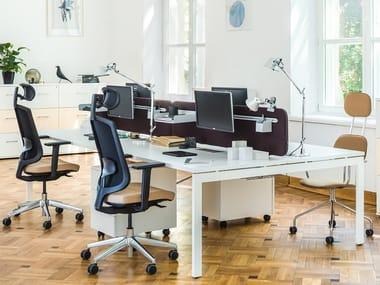 Multiple office workstation with sound absorbing screens OGI_U   Office workstation