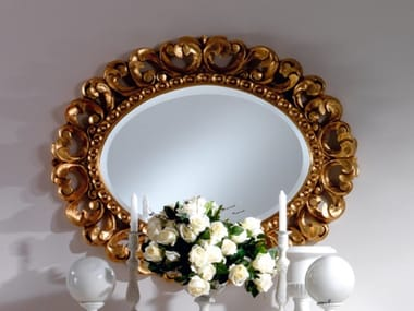 Framed wall-mounted gold leaf mirror OLIMPIA B | Mirror