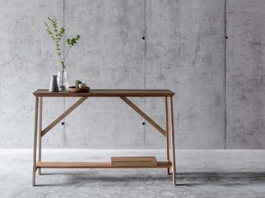 Rectangular walnut console table OLLA